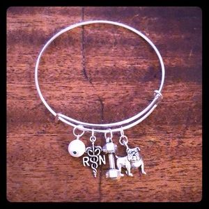RN Dumbbell Bulldog Pearl Adjustable Bracelet